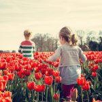 girls, children, tulips